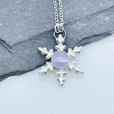Amethyst Snowflake Pendant