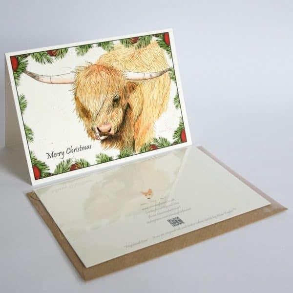 Christmas card Highland Cow by Alan Taylor Art