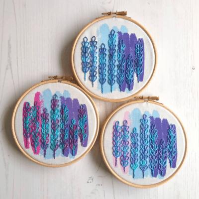 Trio of delphinium embroidery kits