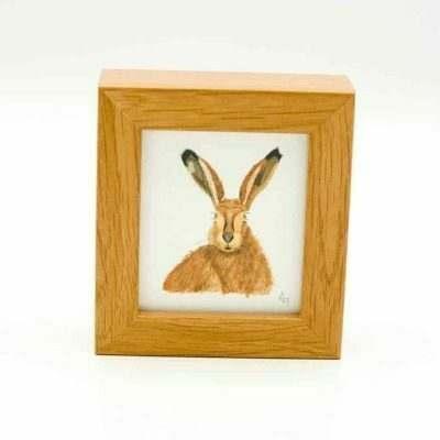 Hare miniature box framed art by Alan Taylor Art