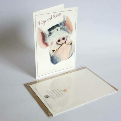 Pig greeting card by Alan Taylor Art