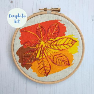 Horse chestnut leaf embroidery kit