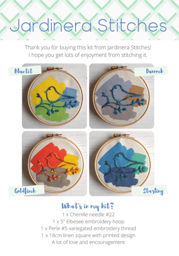 Garden birds embroidery kits collection