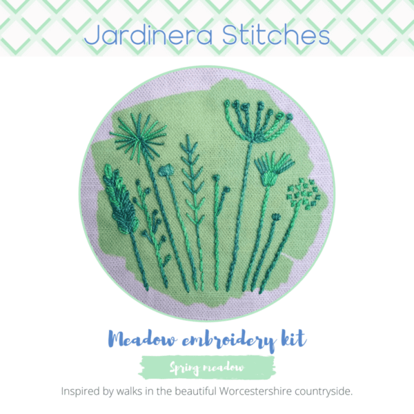 Spring meadow embroidery kit cover