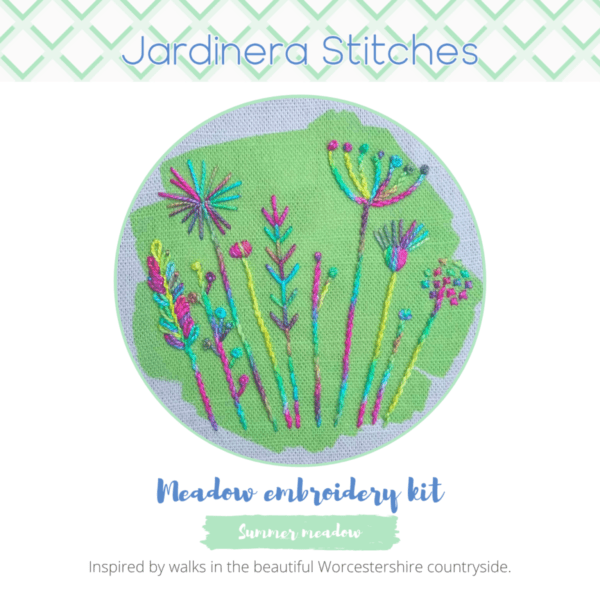 Summer meadow embroidery kit cover