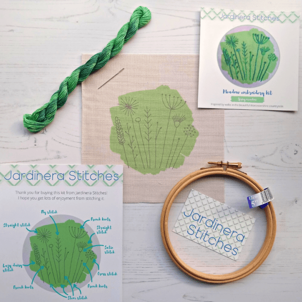 Spring meadow embroidery kit contents