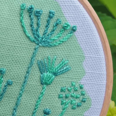 Spring meadow embroidery kit detail