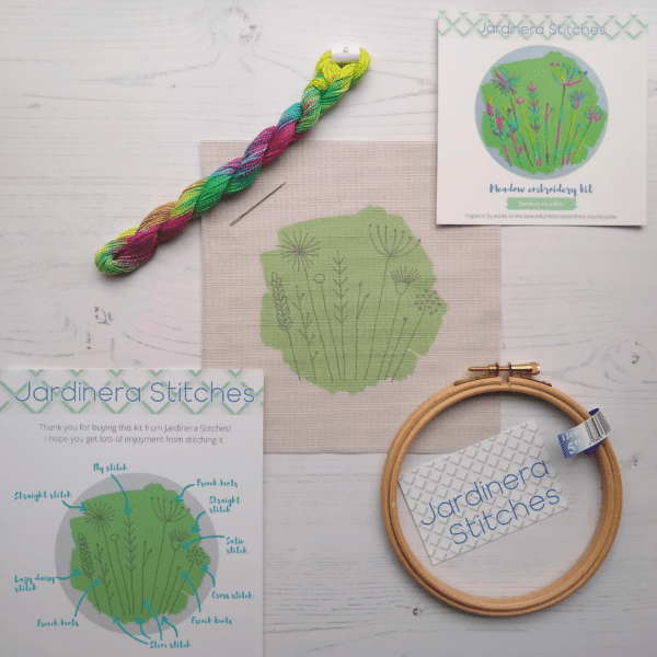 Summer meadow embroidery kit contents