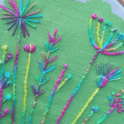 Detail of summer meadow embroidery kit