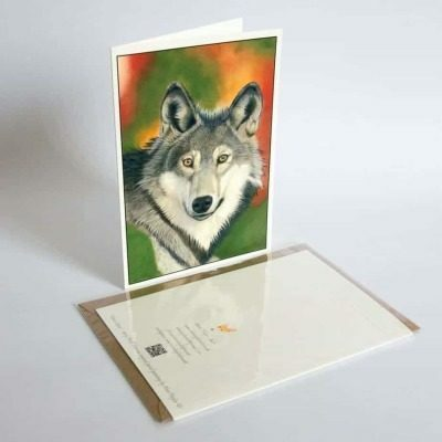 Wolf greeting card by Alan Taylor Art