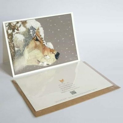 Wolf in snow greeting card by Alan Taylor Art