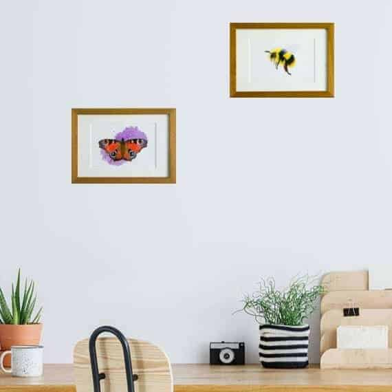 Bee and butterfly giclee print collection by Alan Taylor Art