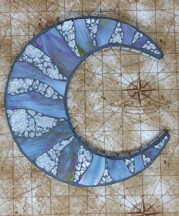 crescent moon mosaic stained glass