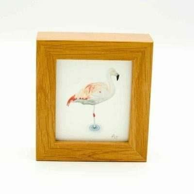 Flamingo miniature box framed art by Alan Taylor Art