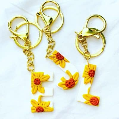 Personalised Sunflower Keyring